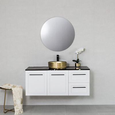 Hampton 1200mm Wall Hung Vanity Cabinet Matte White w/ Marquina Black Quartz Stone Top