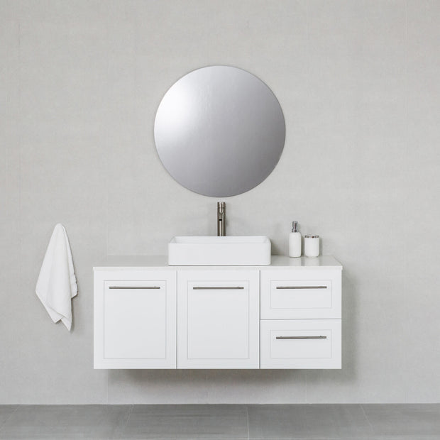Hampton 1200mm Wall Hung Vanity Cabinet Matte White w/ Shimmer White Quartz Stone Top