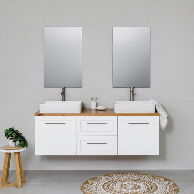 Hampton 1500mm Wall Hung Vanity Cabinet Matte White w/ Natural Oak Timber Top