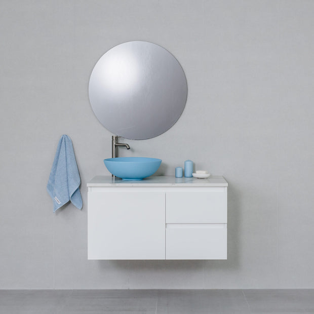 Moda 900mm Wall Hung Vanity Cabinet Semi-Gloss White w/ Calacatta White Stone Top