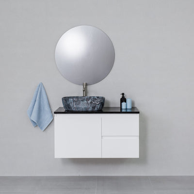 Moda 900mm Wall Hung Vanity Cabinet Semi-Gloss White w/ Carrara Black Stone Top