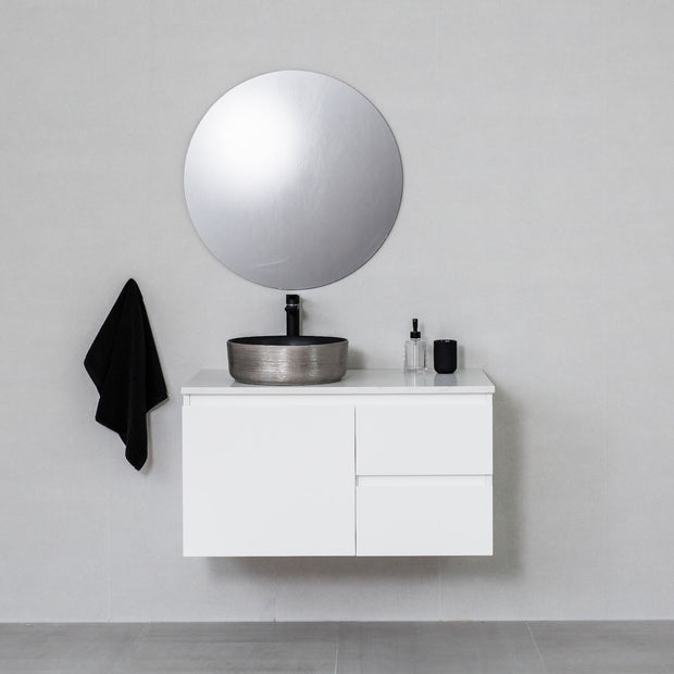 Moda 900mm Wall Hung Vanity Cabinet Semi-Gloss White w/ Carrara White Stone Top