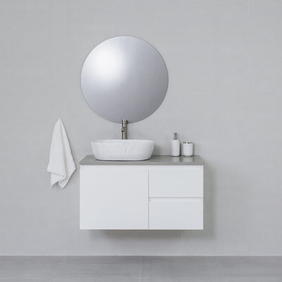Moda 900mm Wall Hung Vanity Cabinet Semi-Gloss White w/ Portland Grey Stone Top