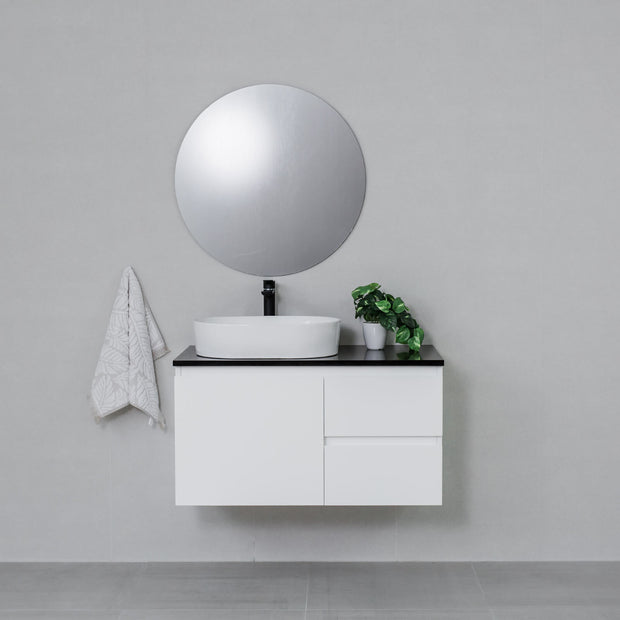 Moda 900mm Wall Hung Vanity Cabinet Semi-Gloss White w/ Shimmer Black Stone Top