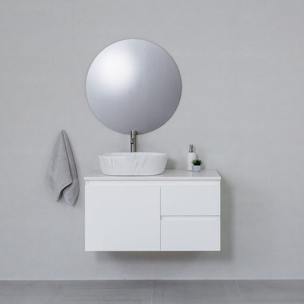 Moda 900mm Wall Hung Vanity Cabinet Semi-Gloss White w/ Snow White Stone Top