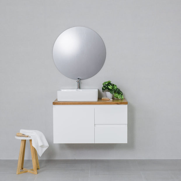 Moda 900mm Wall Hung Vanity Cabinet Semi-Gloss White w/ Natural Oak Timber Top