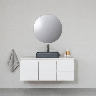 Moda 1200mm Wall Hung Vanity Cabinet Semi-Gloss White w/ Calacatta White Quartz Stone Top