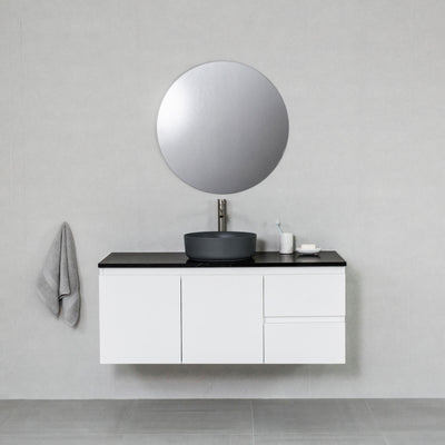 Moda 1200mm Wall Hung Vanity Cabinet Semi-Gloss White w/ Carrara Black Quartz Stone Top