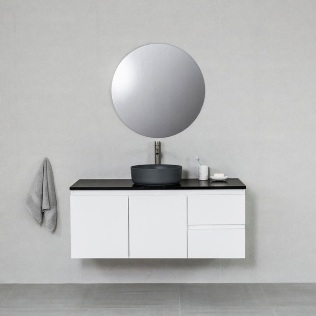 Hampton 1200mm Wall Hung Vanity Cabinet Matte White w/ Carrara Black Quartz Stone Top