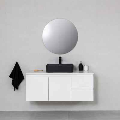 Moda 1200mm Wall Hung Vanity Cabinet Semi-Gloss White w/ Carrara White Quartz Stone Top