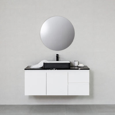 Moda 1200mm Wall Hung Vanity Cabinet Semi-Gloss White w/ Marquina Black Quartz Stone Top