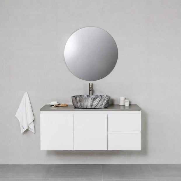 Moda 1200mm Wall Hung Vanity Cabinet Semi-Gloss White w/ Portland Grey Quartz Stone Top