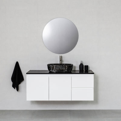 Moda 1200mm Wall Hung Vanity Cabinet Semi-Gloss White w/ Shimmer Black Quartz Stone Top