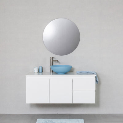 Moda 1200mm Wall Hung Vanity Cabinet Semi-Gloss White w/ Shimmer White Quartz Stone Top