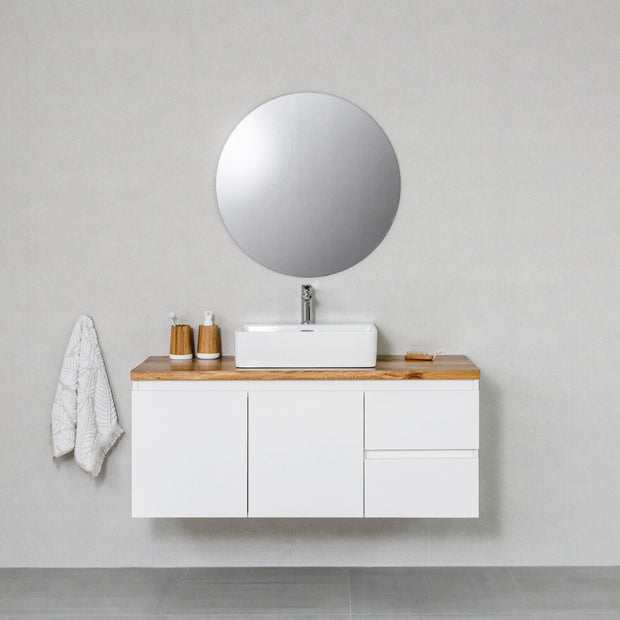 Moda 1200mm Wall Hung Vanity Cabinet Semi-Gloss White w/ Natural Oak Timber Top