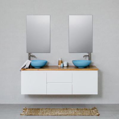 Moda 1500mm Wall Hung Vanity Cabinet Semi-Gloss White w/ Natural Oak Timber Top