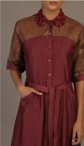 Maroon silk shirt dress by Priyam Narayan only at Catwalk Couture
