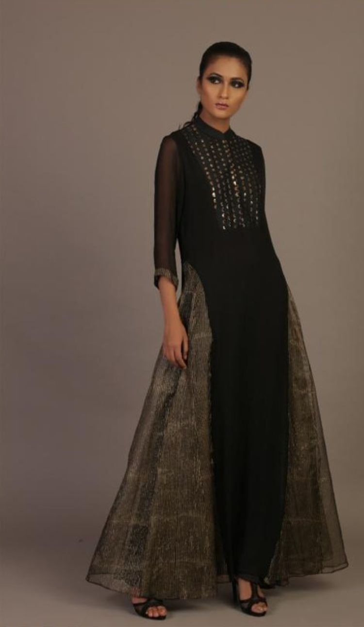 Side panel pure Chiffon and Organza dress by Priyam Narayan only at Catwalk Couture