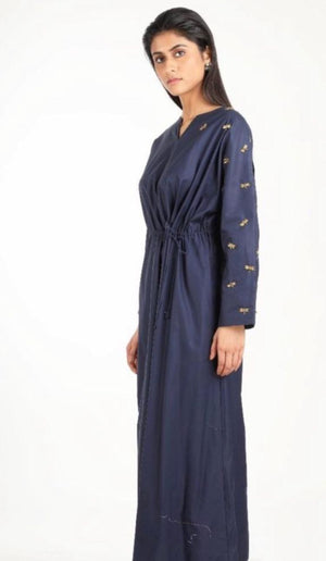 Embroidered navy blue dress by Suman Nathwani only at Catwalk Couture