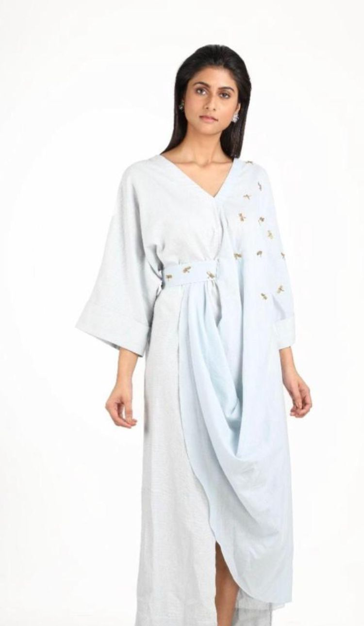 Embroidered drape dress in light blue by Suman Nathwani only at Catwalk Couture