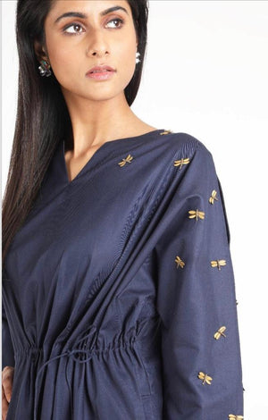 Embellished blue dress by Suman Nathwani