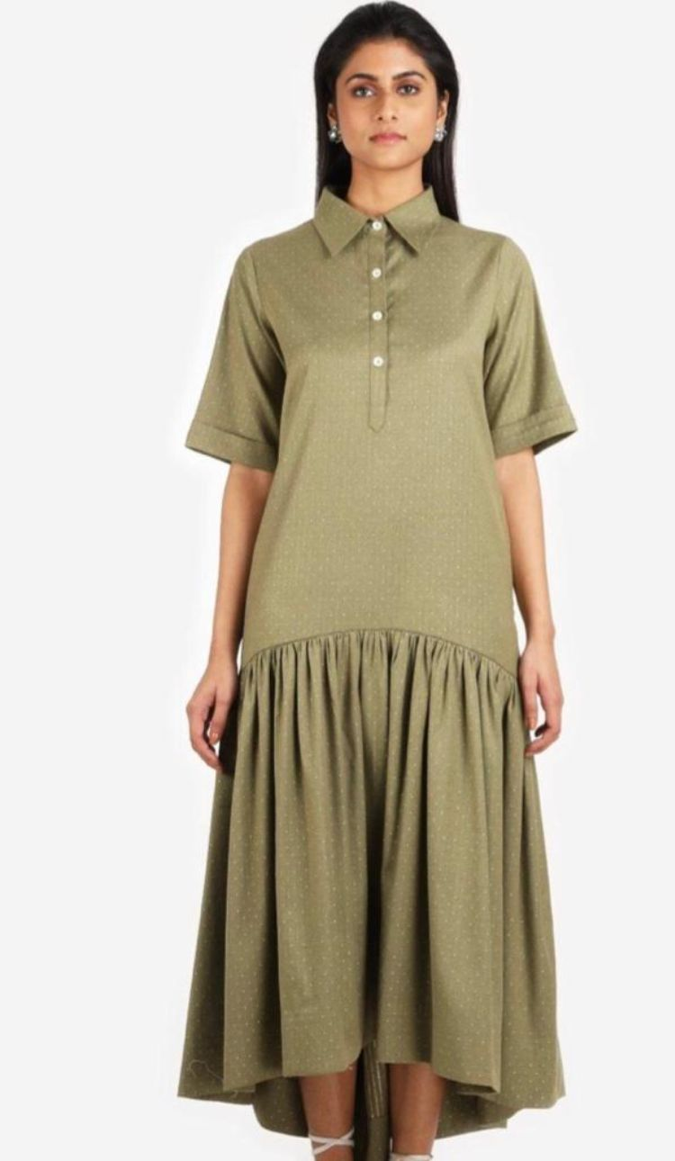 Olive gree shirt dress by Suman Nathwani only at Catwalk Couture