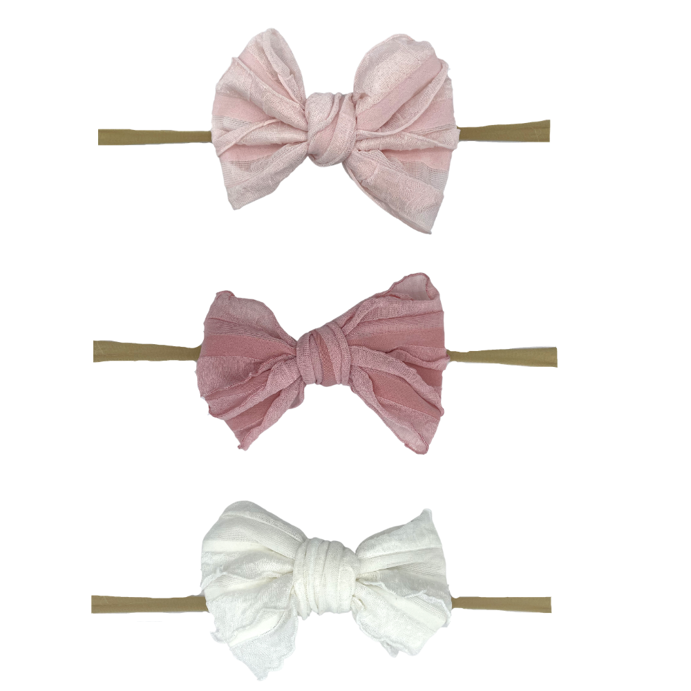 Pink Lil Bow Peep Set of 3 Clip Bows + 1 Elastic Headband