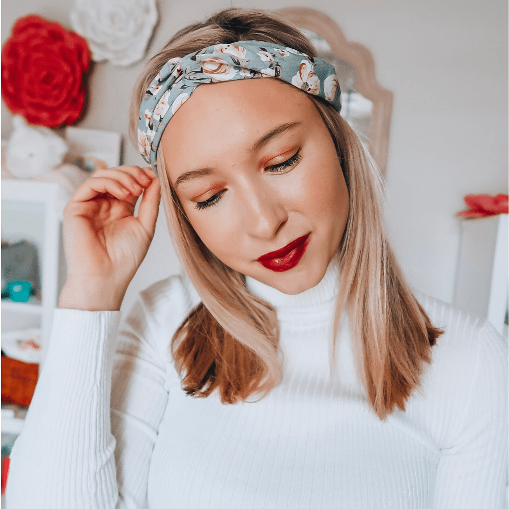Grey Floral Twist Turban - Headbands of Hope