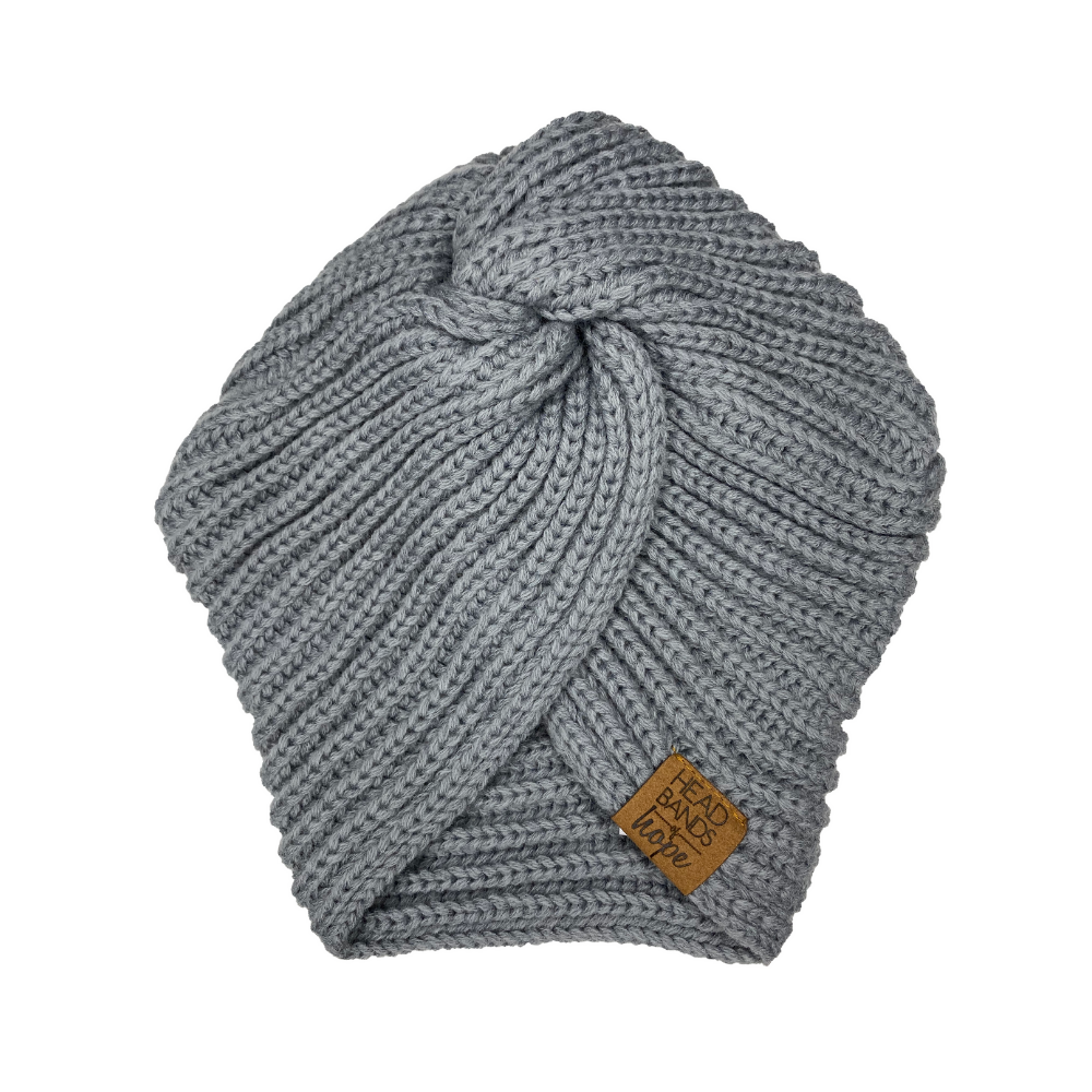 Twisted Turban beanie in Grey