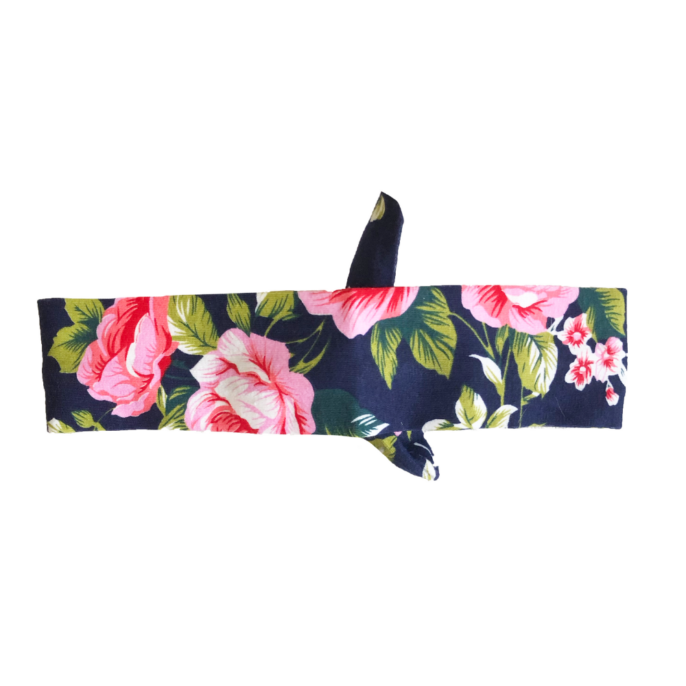 Navy Floral Knotted - Headbands of Hope