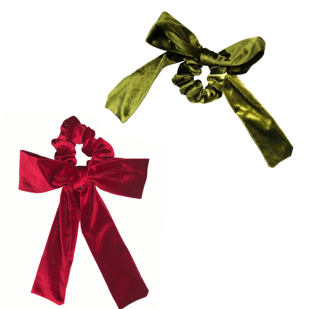 Red + Green Velvet Bow Tie Scrunchie