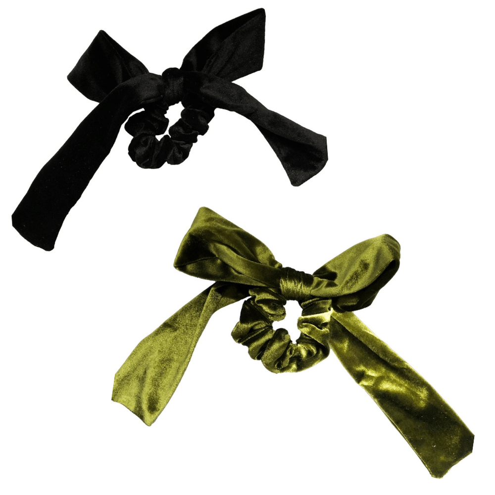 Olive + Black Velvet Bow Tie Scrunchie - Headbands of Hope