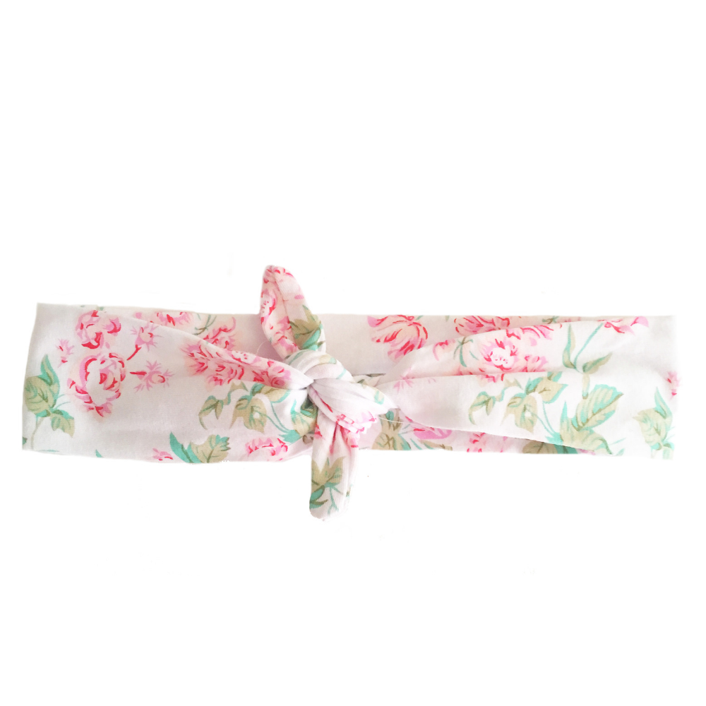 White Floral Knotted - Headbands of Hope