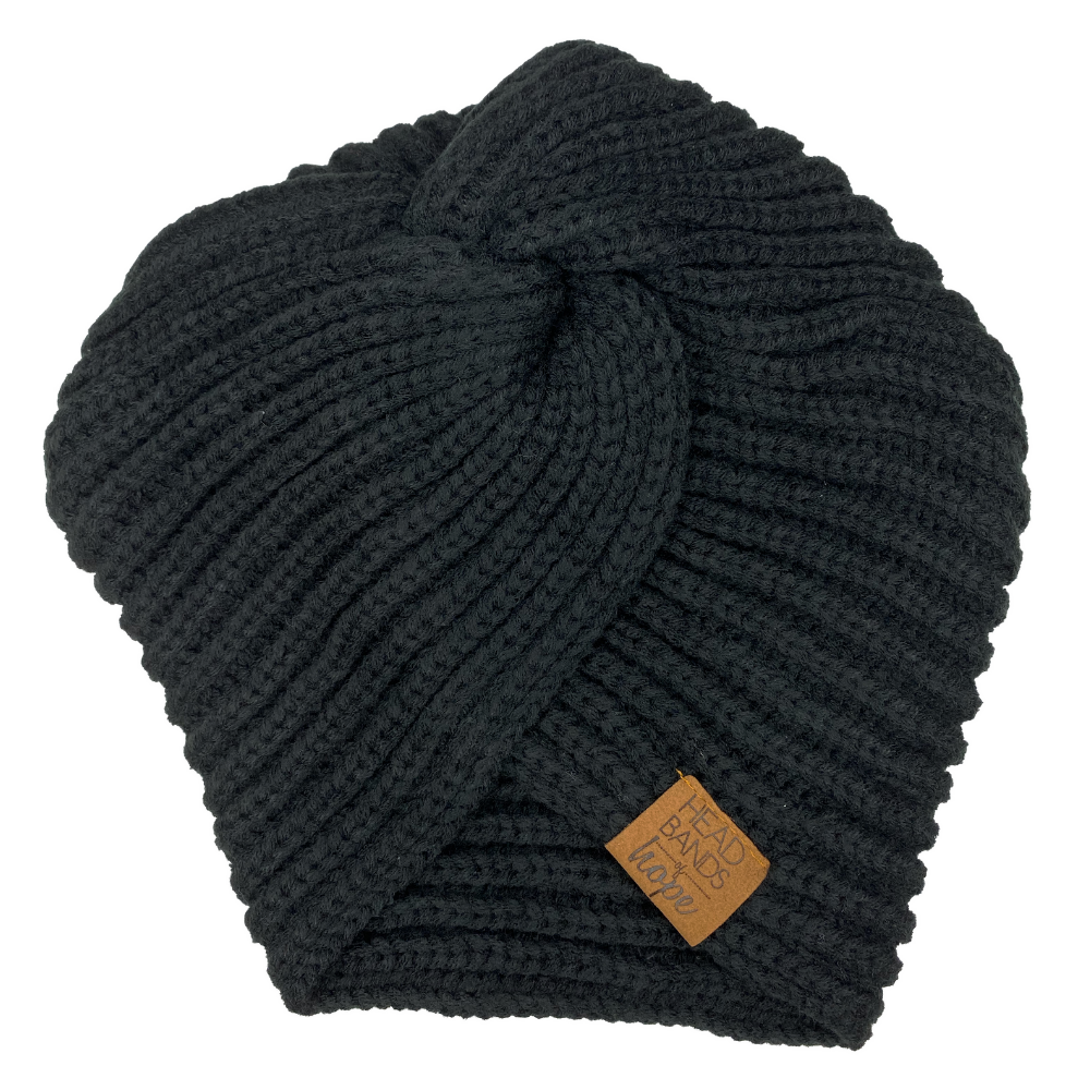 Twisted Turban Beanie in Black