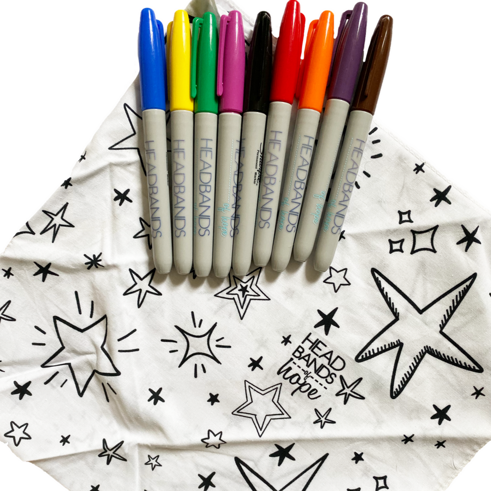 Coloring Bandana Pack + Sharpies