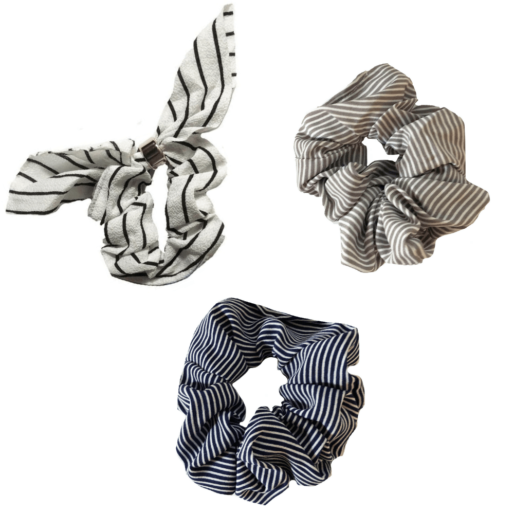 White and Navy Stripe Scrunchie//Scrunchies for Hair//