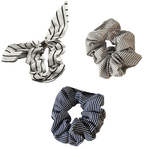 Navy, White, Taupe Striped Scrunchie Set - Headbands of Hope