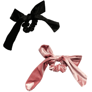 Black + Pink Velvet Bow Tie Scrunchie
