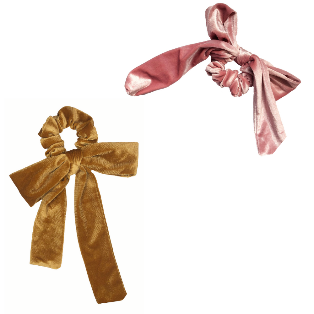 Gold + Pink Velvet Bow Tie Scrunchie