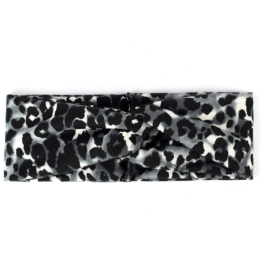 Grey Leopard Button Headband