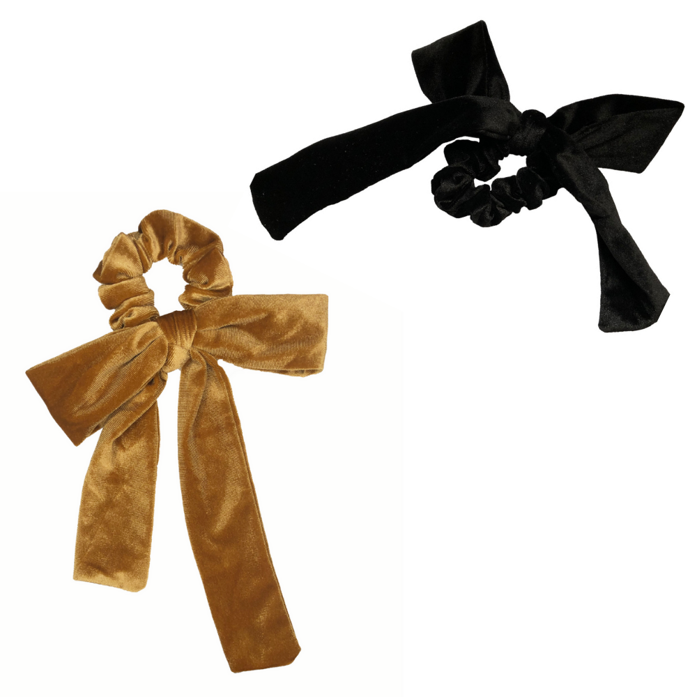 Gold + Black Velvet Bow Tie Scrunchie