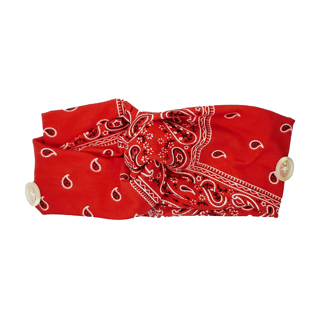Red Paisley Button Headband
