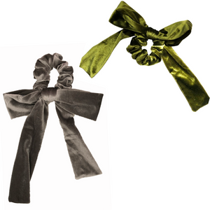 Silver + Green Velvet Bow Tie Scrunchie