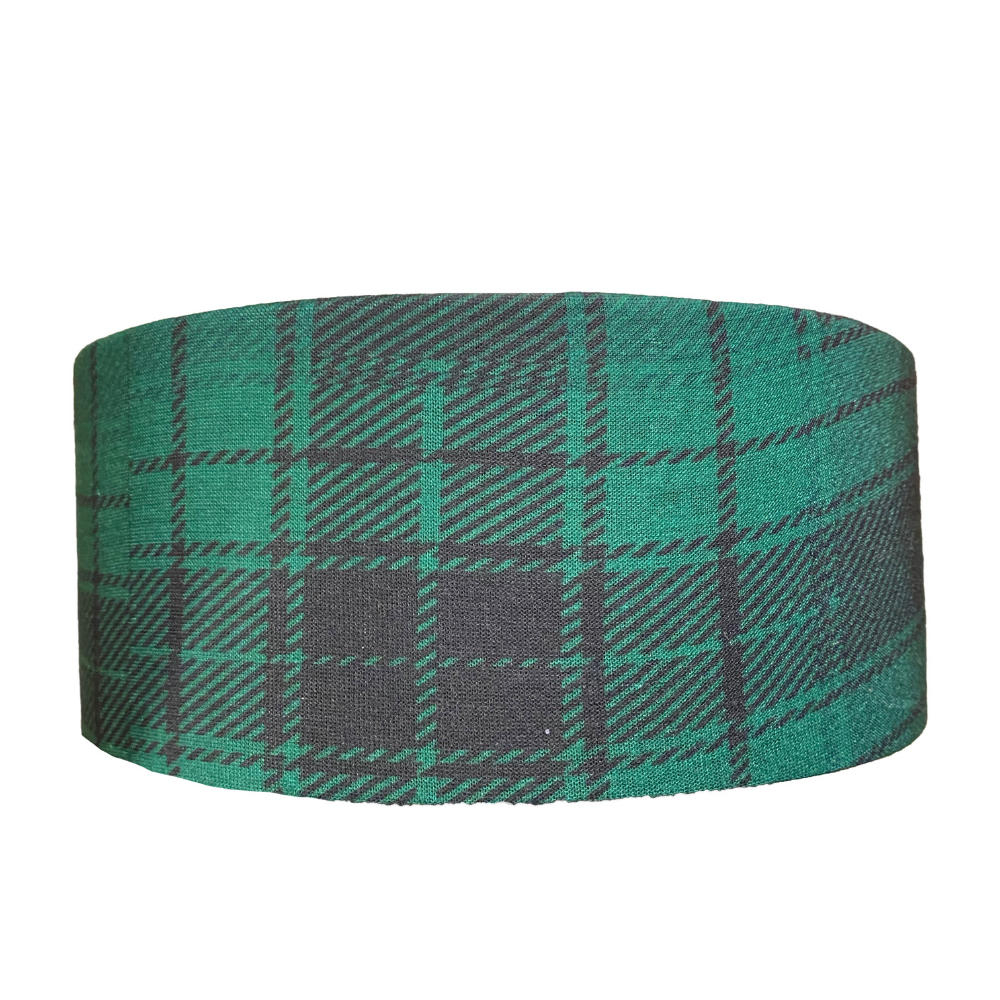 Green Plaid Recycled Tube Turban