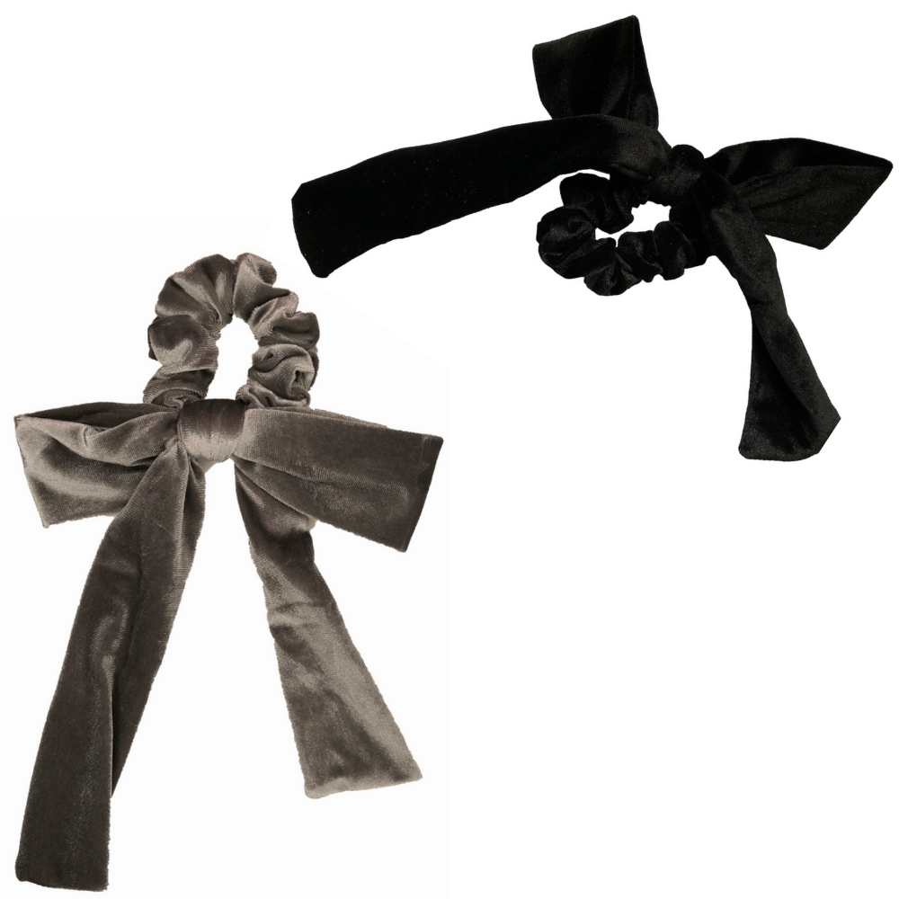 Silver + Black Velvet Bow Tie Scrunchie