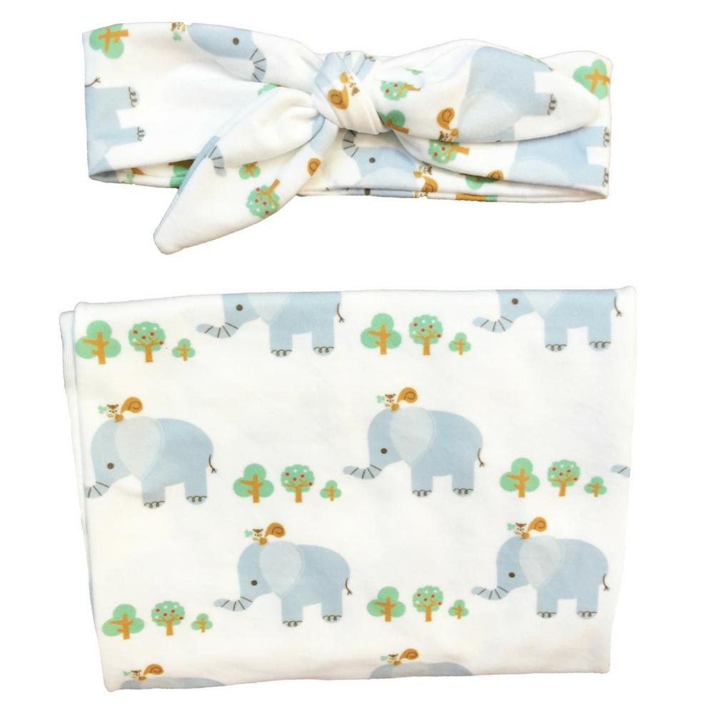 Baby Elephant Swaddle + Headband Set - Headbands of Hope