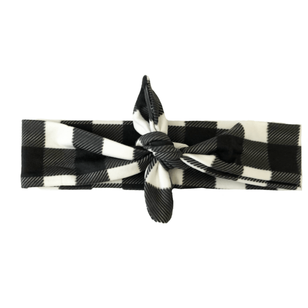 Black Buffalo Plaid Knotted - Headbands of Hope