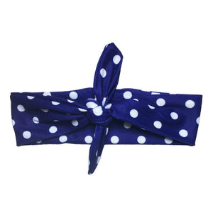 Blue Polka Knotted - Headbands of Hope