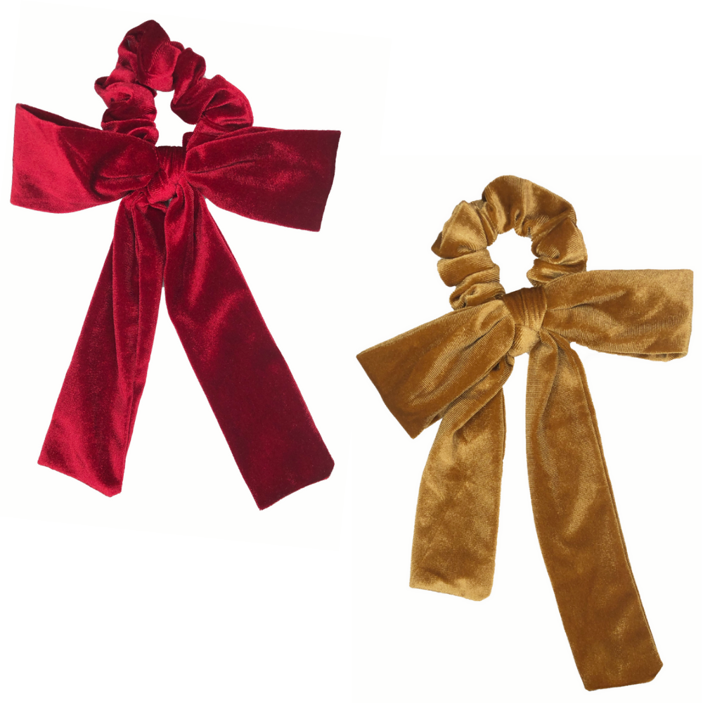 Red + Gold Velvet Bow Tie Scrunchie