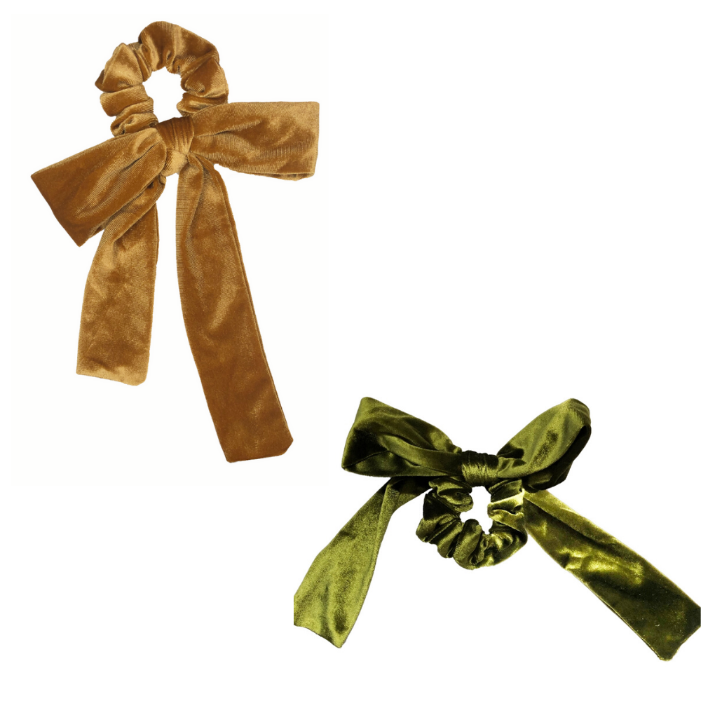 Gold + Green Velvet Bow Tie Scrunchie